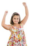 Winner girl. With flowered dress a over white background Royalty Free Stock Photos