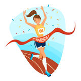 Winner Girl Design Concept. With young female athlete in sportswear running on treadmill to finishing tape flat vector illustration Royalty Free Stock Images