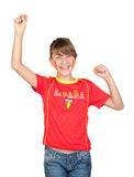 Winner girl fan of the Spanish team. Isolated on white background Royalty Free Stock Images