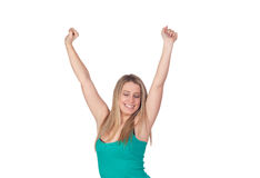 Winner girl. With isolated on a white background Stock Photos