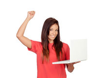 Winner girl with a laptop. Isolated on a white background Royalty Free Stock Image