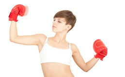 Winner girl with red boxing gloves Royalty Free Stock Image
