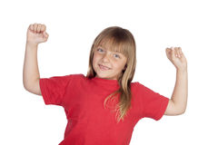 Winner girl with red t-shirt. Isolated on white background Royalty Free Stock Photography