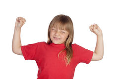 Winner girl with red t-shirt. Isolated on white background Stock Photography