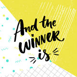 And the winner is. Giveaway banner for social media contests. Brush lettering at playful and colorful pop abstract Royalty Free Stock Image