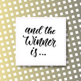 And the winner is. Giveaway banner for social media icons. Vector modern hand lettering Royalty Free Stock Images