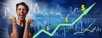 Happy investor man. stock image