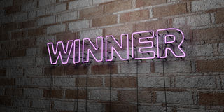 WINNER - Glowing Neon Sign on stonework wall - 3D rendered royalty free stock illustration. Can be used for online banner ads and direct mailers Stock Images