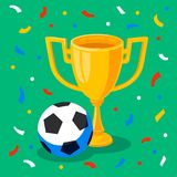 Winner gold cup, football ball and confetti on green background. First place prize. Sport winners goblet. Football or. Soccer championship. Tropy reward. Flat Stock Image
