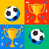 Winner gold cup, football ball and confetti in pop art style. First place prize. Sport winners goblet. Football or. Soccer championship. Tropy reward. Flat Stock Image