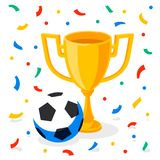 Winner gold cup, football ball and confetti on white background. First place prize. Sport winners goblet. Football or. Soccer championship. Tropy reward. Flat Royalty Free Stock Image
