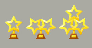 Winner gold cup. Trophy star icon. Championship and olympiad.Vector Game Golden stars icon Stock Images