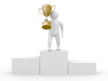 Winner with gold cup on white background Royalty Free Stock Photos