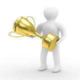 Winner with gold cup on white background Stock Photography
