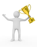 Winner with gold cup on white background Royalty Free Stock Image