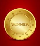 Winner gold seal vector illustration