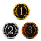Winner 123 gold silver and bronze badge Stock Photo