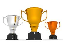 Winner gold silver and bronze cups Royalty Free Stock Photos
