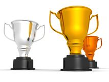 Winner gold silver and bronze cups Stock Photography