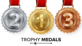 Winner Gold, Silver, Bronze Medals Set Vector. Metal Realistic Badge With First, Second, Third Placement Achievement Stock Photo