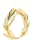 Winner gold wreath. Gold winner olive tree wreath for olympic games winners isolated on white background Royalty Free Stock Images