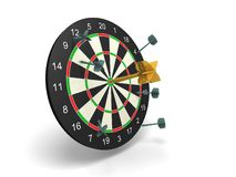 Winner golden dart in center with other bad darts Stock Image