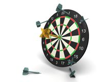 Winner golden dart with other very bad darts Royalty Free Stock Photo