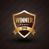 Winner of 2015 golden label vector design badge. Illustration Royalty Free Stock Images