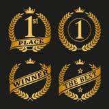 Golden laurel wreath set. Winner golden laurel wreath set on black background. Vector illustration Royalty Free Stock Image