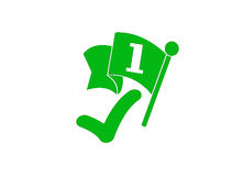 Winner green mark. With number one  on white Background Stock Image