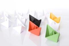 Winner green paper boat Stock Image