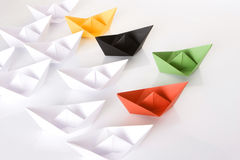 Winner green paper boat Stock Image
