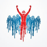 The winner with group of biking Royalty Free Stock Images