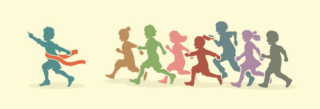 The winner Group of children running marathon, little boy and girl play together Royalty Free Stock Image