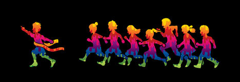 The winner Group of children running marathon, little boy and girl play together. Graphic vector Royalty Free Stock Photo