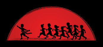 The winner Group of children running marathon, little boy and girl play together. Graphic vector Royalty Free Stock Images