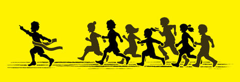 The winner Group of children running marathon, little boy and girl play together. Graphic vector Stock Photo