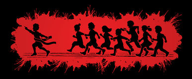 The winner Group of children running marathon, little boy and girl play together. Graphic vector Stock Image