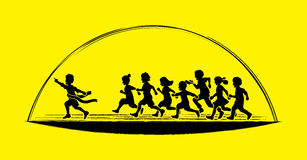 The winner Group of children running marathon, little boy and girl play together. Graphic vector Stock Photos
