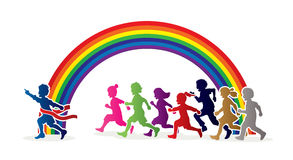The winner Group of children running marathon, little boy and girl play together. Graphic vector Stock Images
