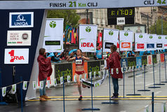 Winner of the half marathon for women royalty free stock images