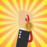 Winner. Hand holding a winner medal Royalty Free Stock Photo