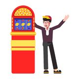 Winner happy man at slot machine jackpot vector cartoon icon. Winner at slot machine jackpot. Vector happy man at slot machine win jackpot bingo pocker flat stock illustration