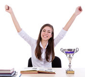 Winner happy student  with success Stock Photo
