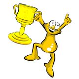 The winner with his trophy - Storyboard. Funny cartoon. Winning man with his trophy Stock Image