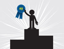 Winner Holding Ribbon. 1st place winner holding up blue ribbon Stock Photo