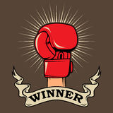 Winner. Human hand in boxing glove. Design element for poster, t Stock Photo
