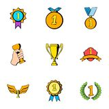 Winner icons set, cartoon style Stock Image