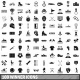 100 winner icons set, simple style. 100 winner icons set in simple style for any design vector illustration Royalty Free Stock Image