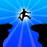 Winner jumping. A man jumping from cliff silhouette showing courage and risk taking ability vector illustration